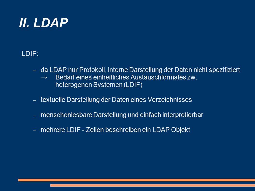 II. LDAP LDIF: – da LDAP nur Protokoll, interne Darstellung der Daten nicht spezifiziert Bedarf eines einheitliches Austauschformates zw. heterogenen