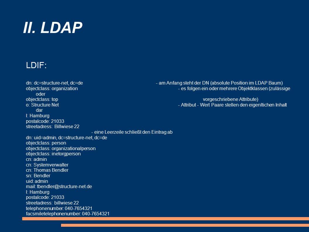 II. LDAP LDIF: dn: dc=structure-net, dc=de- am Anfang steht der DN (absolute Position im LDAP Baum) objectclass: organization- es folgen ein oder mehr