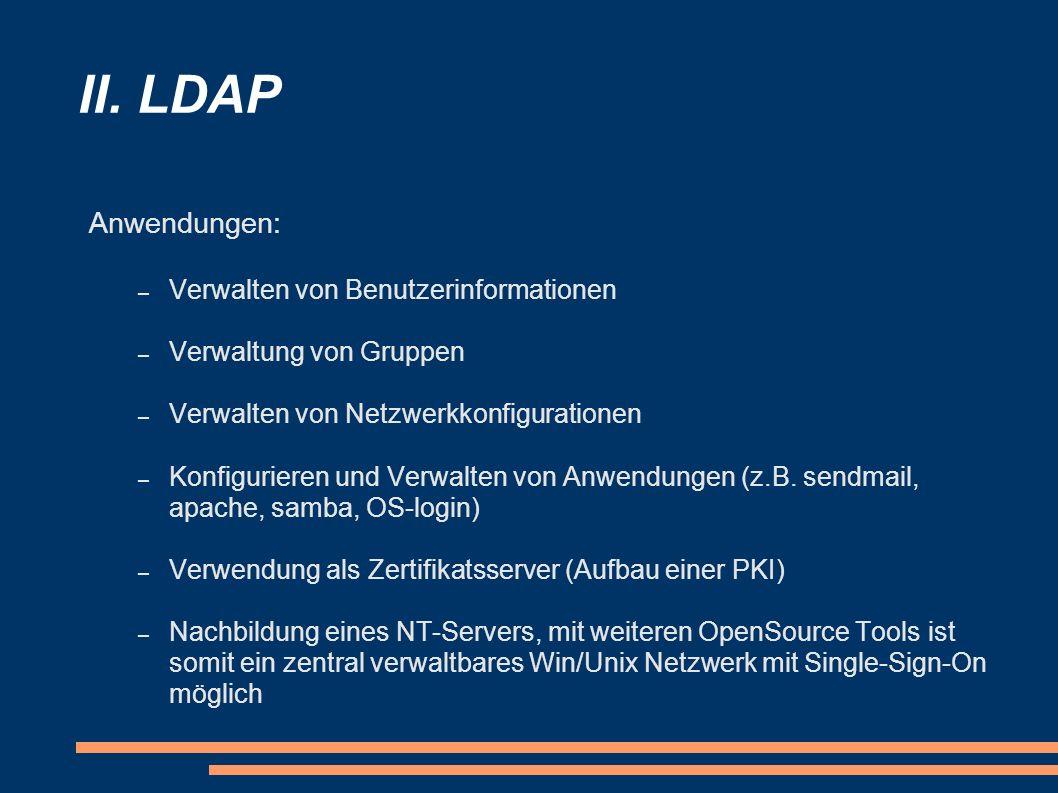 II. LDAP Anwendungen: – Verwalten von Benutzerinformationen – Verwaltung von Gruppen – Verwalten von Netzwerkkonfigurationen – Konfigurieren und Verwa