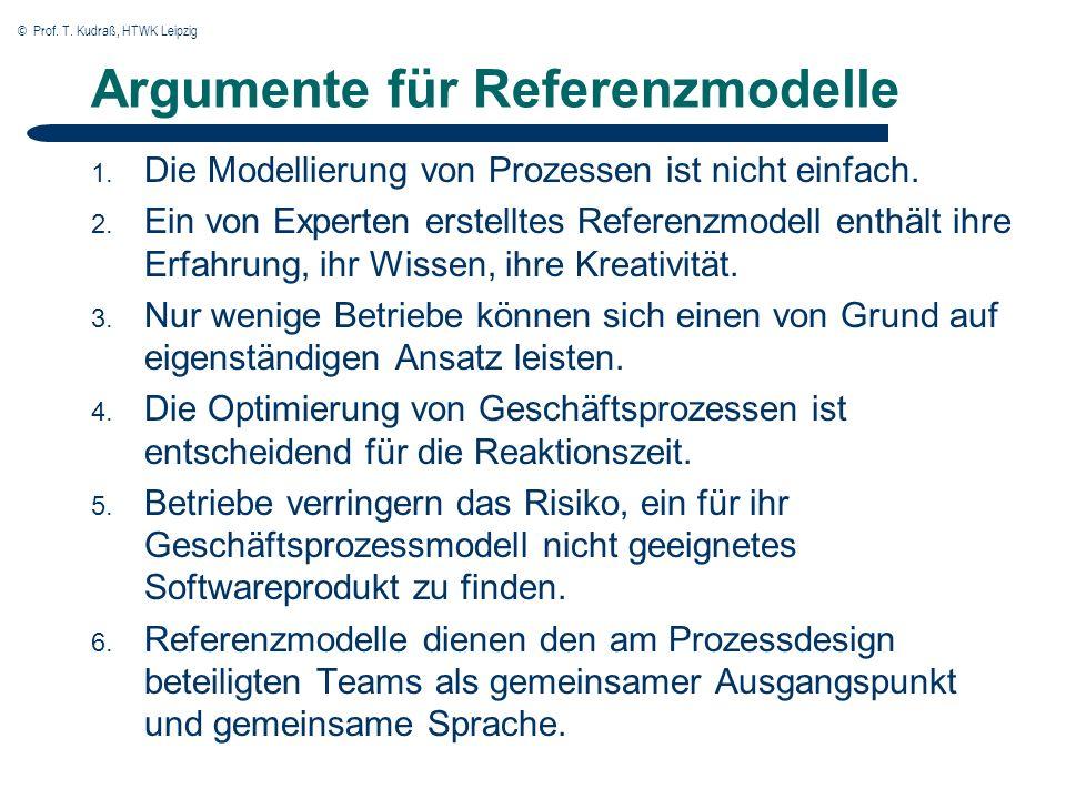 © Prof.T. Kudraß, HTWK Leipzig Argumente für Referenzmodelle 1.