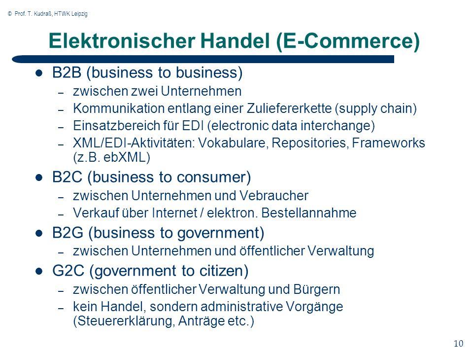 © Prof. T. Kudraß, HTWK Leipzig 10 Elektronischer Handel (E-Commerce) B2B (business to business) – zwischen zwei Unternehmen – Kommunikation entlang e