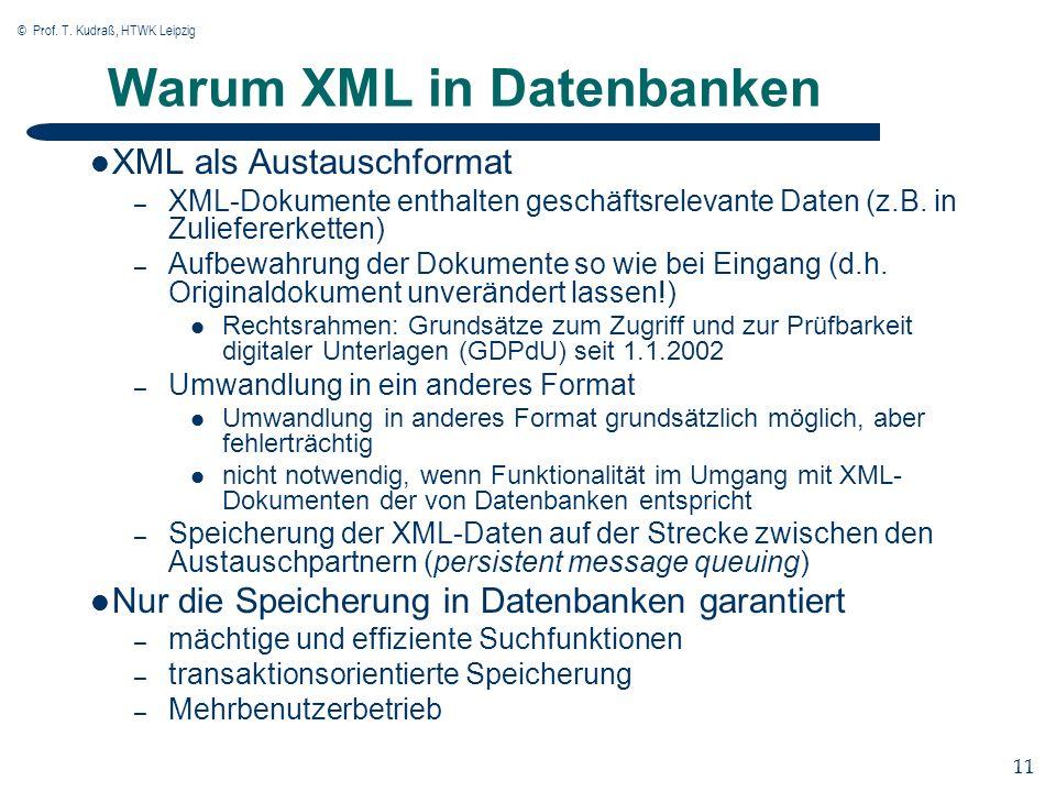 © Prof. T. Kudraß, HTWK Leipzig 11 Warum XML in Datenbanken XML als Austauschformat – XML-Dokumente enthalten geschäftsrelevante Daten (z.B. in Zulief