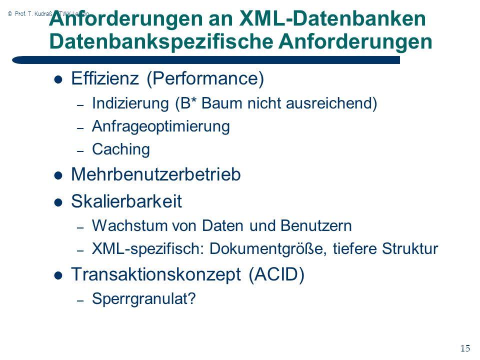 © Prof. T. Kudraß, HTWK Leipzig 15 Anforderungen an XML-Datenbanken Datenbankspezifische Anforderungen Effizienz (Performance) – Indizierung (B* Baum