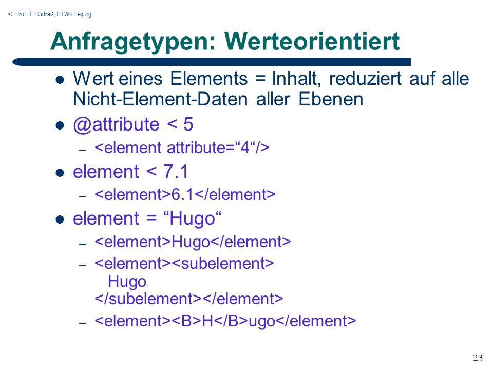 © Prof. T. Kudraß, HTWK Leipzig 23 Anfragetypen: Werteorientiert Wert eines Elements = Inhalt, reduziert auf alle Nicht-Element-Daten aller Ebenen @at