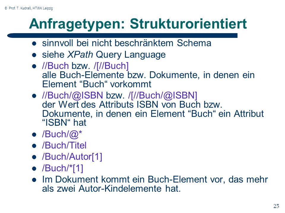 © Prof. T. Kudraß, HTWK Leipzig 25 Anfragetypen: Strukturorientiert sinnvoll bei nicht beschränktem Schema siehe XPath Query Language //Buch bzw. /[//