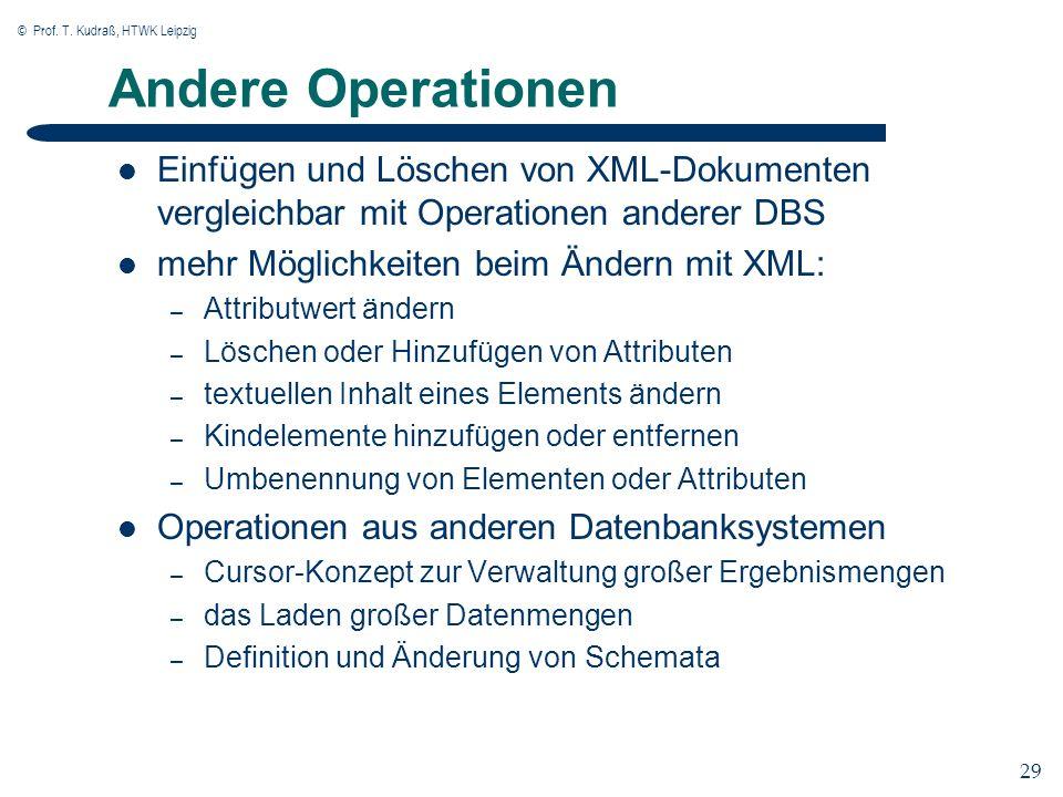 © Prof. T. Kudraß, HTWK Leipzig 29 Andere Operationen Einfügen und Löschen von XML-Dokumenten vergleichbar mit Operationen anderer DBS mehr Möglichkei