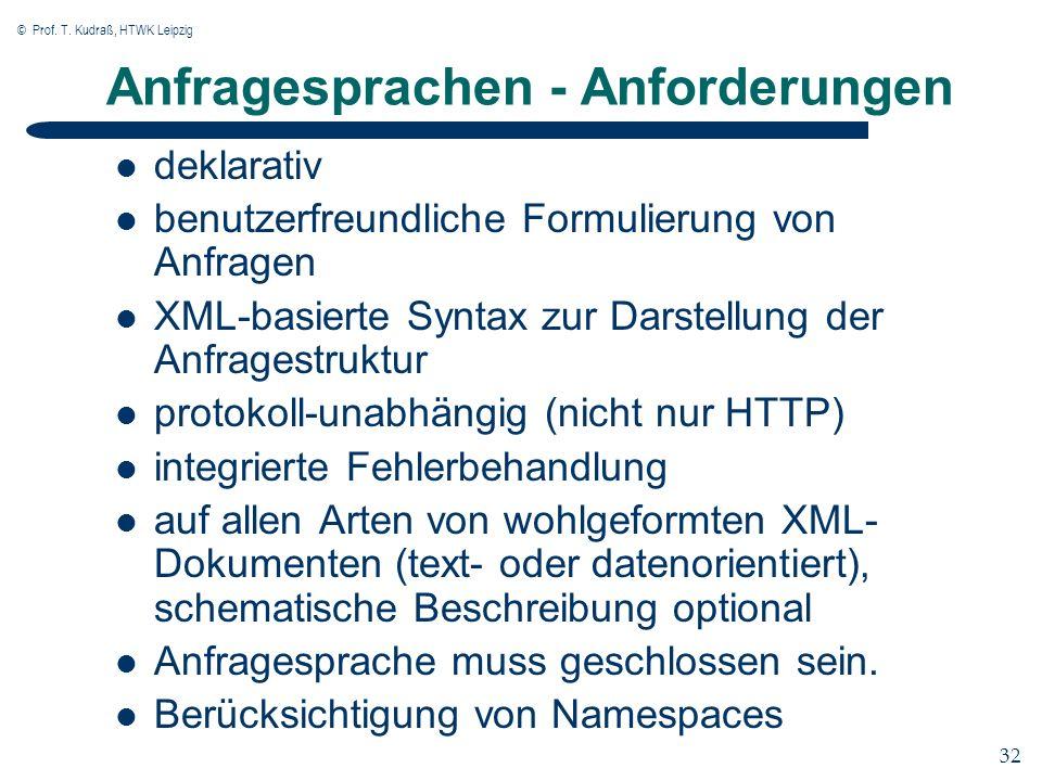 © Prof. T. Kudraß, HTWK Leipzig 32 Anfragesprachen - Anforderungen deklarativ benutzerfreundliche Formulierung von Anfragen XML-basierte Syntax zur Da