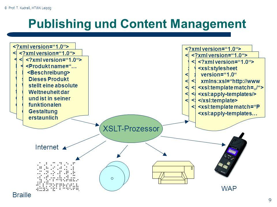 © Prof. T. Kudraß, HTWK Leipzig 9 9 Publishing und Content Management XSLT-Prozessor <xsl:stylesheet version=1.0 xmlns:xsl=http://www <xsl:template ma