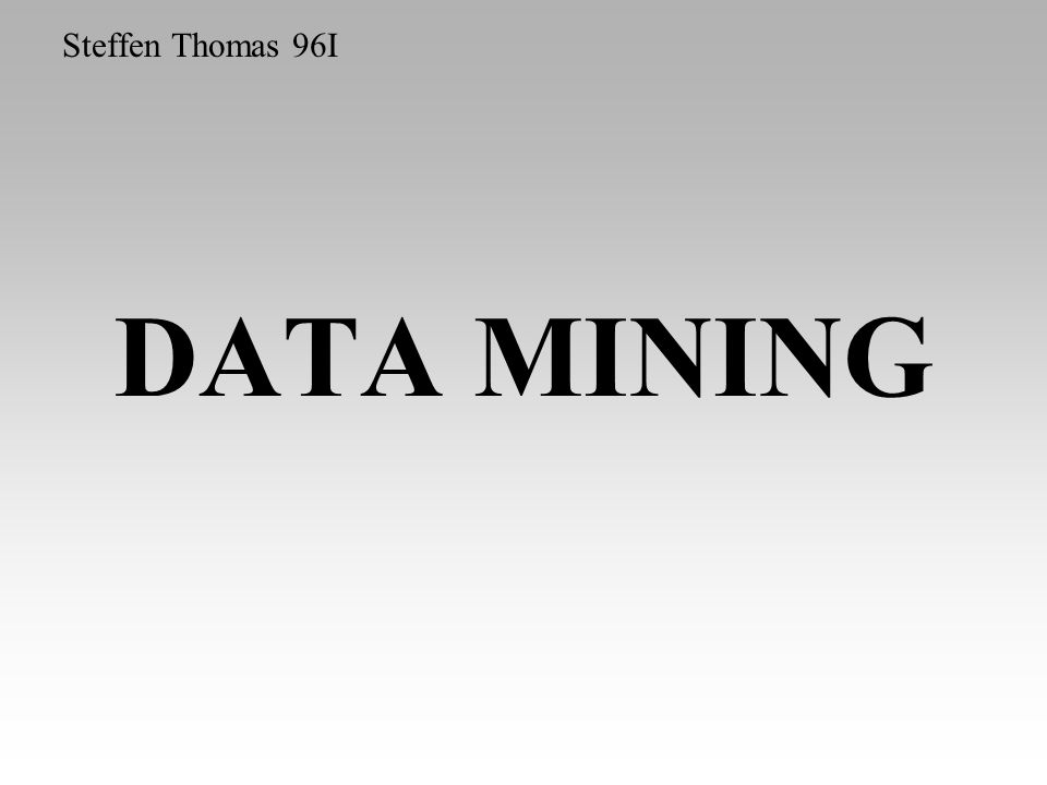 DATA MINING Steffen Thomas 96I