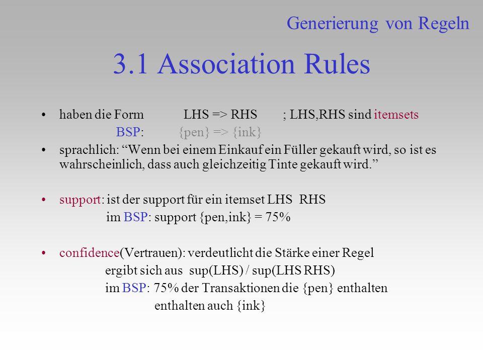 3.1 Association Rules haben die Form LHS => RHS; LHS,RHS sind itemsets BSP: {pen} => {ink} sprachlich: Wenn bei einem Einkauf ein Füller gekauft wird,