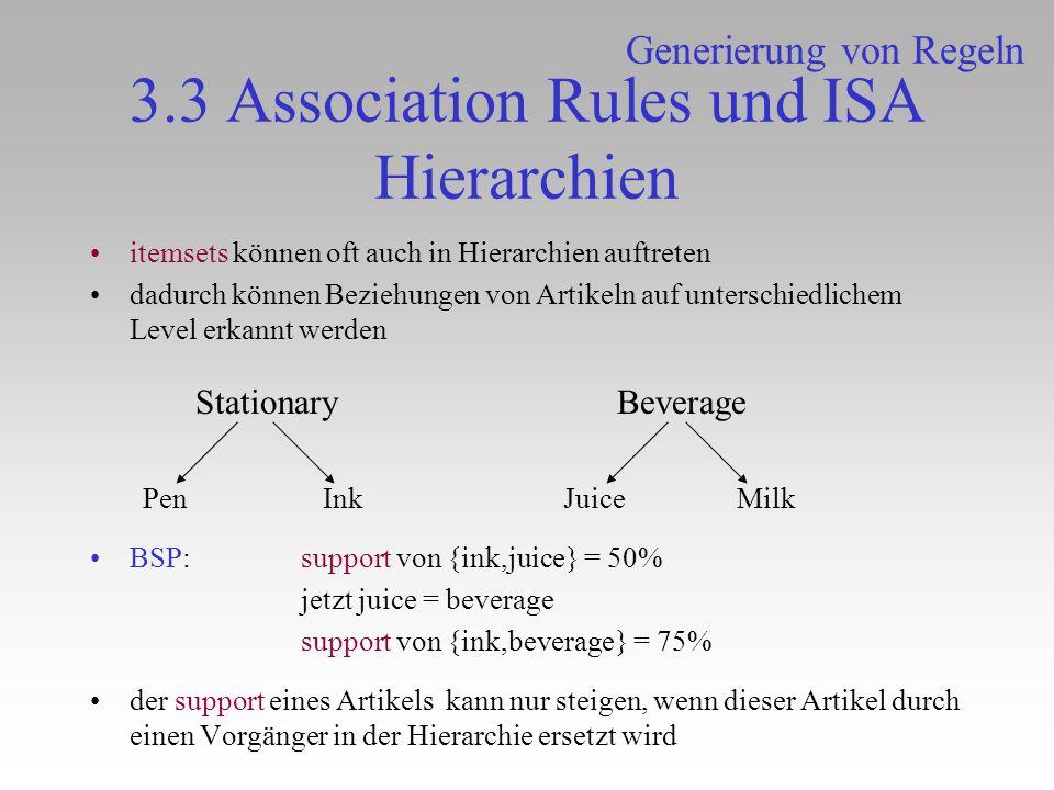 3.3 Association Rules und ISA Hierarchien itemsets können oft auch in Hierarchien auftreten dadurch können Beziehungen von Artikeln auf unterschiedlic