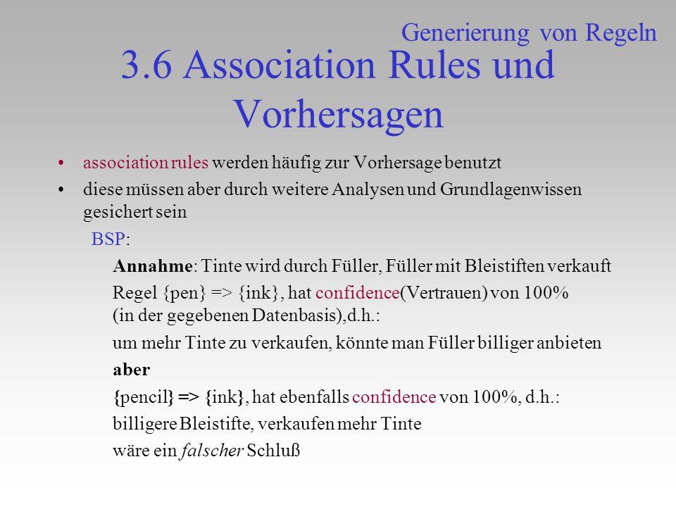 3.6 Association Rules und Vorhersagen association rules werden häufig zur Vorhersage benutzt diese müssen aber durch weitere Analysen und Grundlagenwi
