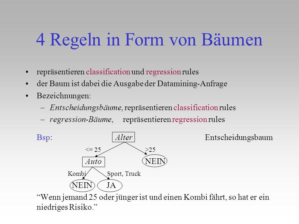 4 Regeln in Form von Bäumen repräsentieren classification und regression rules der Baum ist dabei die Ausgabe der Datamining-Anfrage Bezeichnungen: –E