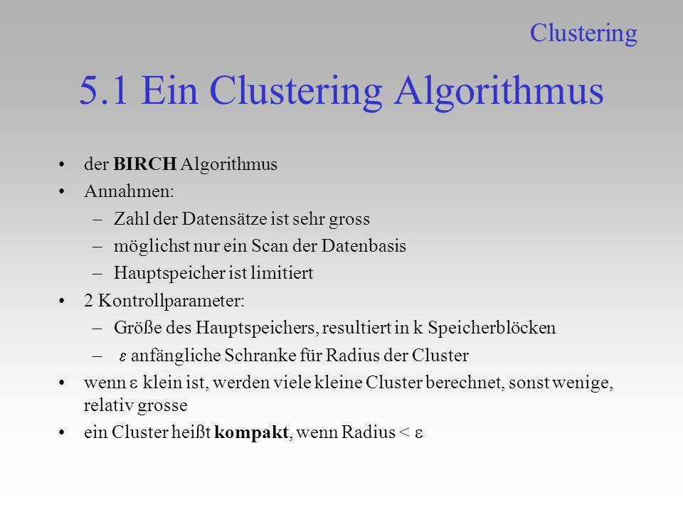 5.1 Ein Clustering Algorithmus der BIRCH Algorithmus Annahmen: –Zahl der Datensätze ist sehr gross –möglichst nur ein Scan der Datenbasis –Hauptspeich