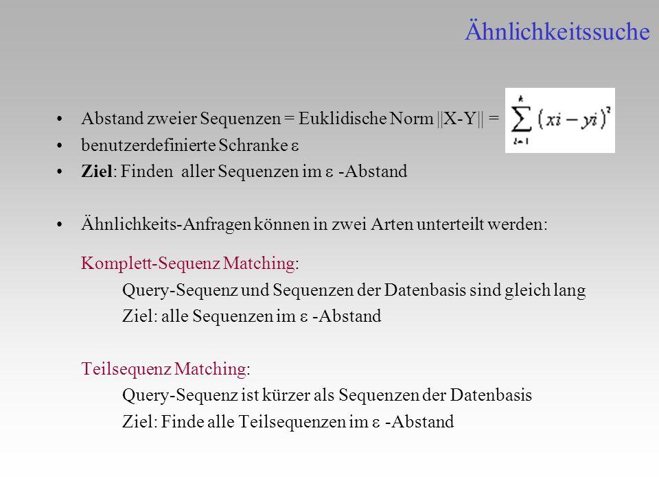 Abstand zweier Sequenzen = Euklidische Norm   X-Y   = benutzerdefinierte Schranke Ziel: Finden aller Sequenzen im -Abstand Ähnlichkeits-Anfragen könne