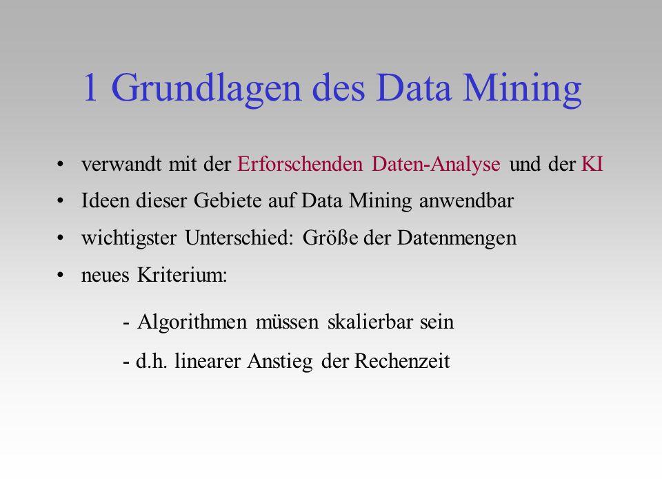 1 Grundlagen des Data Mining verwandt mit der Erforschenden Daten-Analyse und der KI Ideen dieser Gebiete auf Data Mining anwendbar wichtigster Unters