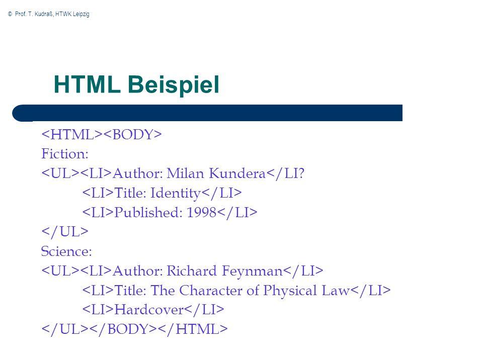 © Prof.T. Kudraß, HTWK Leipzig HTML Beispiel Fiction: Author: Milan Kundera</LI.