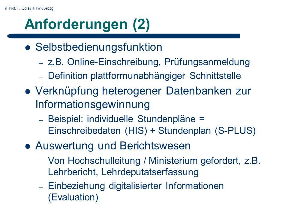 © Prof. T. Kudraß, HTWK Leipzig Anforderungen (2) Selbstbedienungsfunktion – z.B.