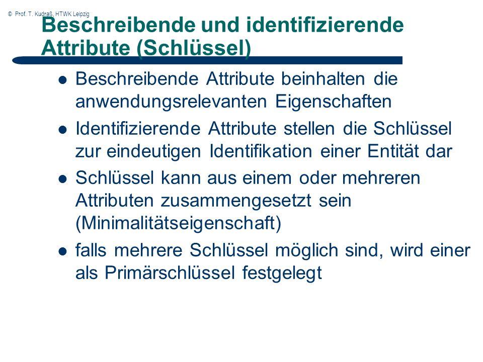 © Prof. T. Kudraß, HTWK Leipzig Beschreibende und identifizierende Attribute (Schlüssel) Beschreibende Attribute beinhalten die anwendungsrelevanten E