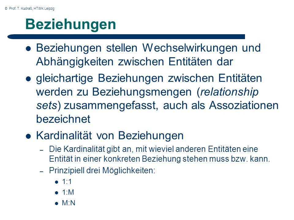 © Prof. T. Kudraß, HTWK Leipzig Beziehungen Beziehungen stellen Wechselwirkungen und Abhängigkeiten zwischen Entitäten dar gleichartige Beziehungen zw