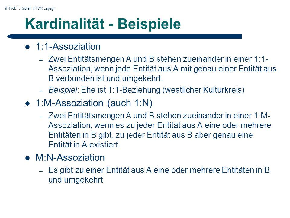 © Prof. T. Kudraß, HTWK Leipzig Kardinalität - Beispiele 1:1-Assoziation – Zwei Entitätsmengen A und B stehen zueinander in einer 1:1- Assoziation, we