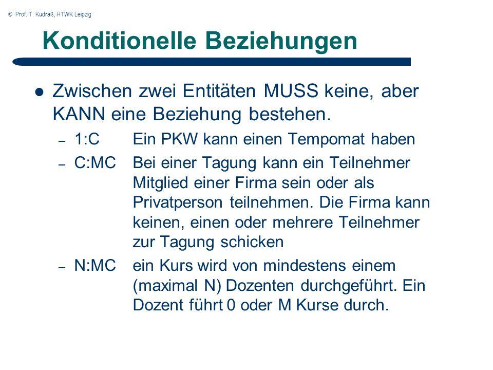 © Prof. T. Kudraß, HTWK Leipzig Konditionelle Beziehungen Zwischen zwei Entitäten MUSS keine, aber KANN eine Beziehung bestehen. – 1:C Ein PKW kann ei