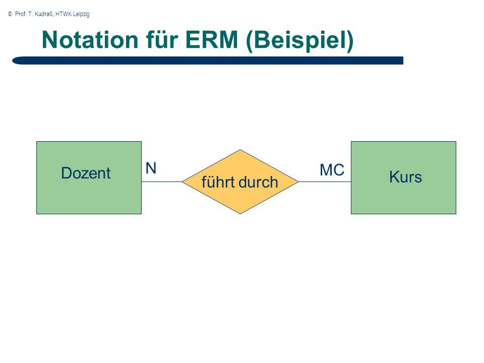 © Prof. T. Kudraß, HTWK Leipzig Notation für ERM (Beispiel) Dozent Kurs führt durch N MC