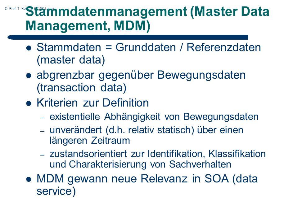 © Prof. T. Kudraß, HTWK Leipzig Stammdatenmanagement (Master Data Management, MDM) Stammdaten = Grunddaten / Referenzdaten (master data) abgrenzbar ge