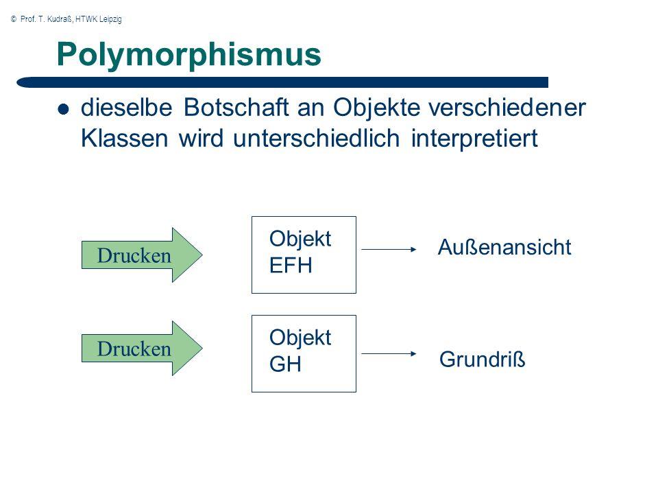 © Prof. T. Kudraß, HTWK Leipzig Polymorphismus dieselbe Botschaft an Objekte verschiedener Klassen wird unterschiedlich interpretiert Drucken Objekt E