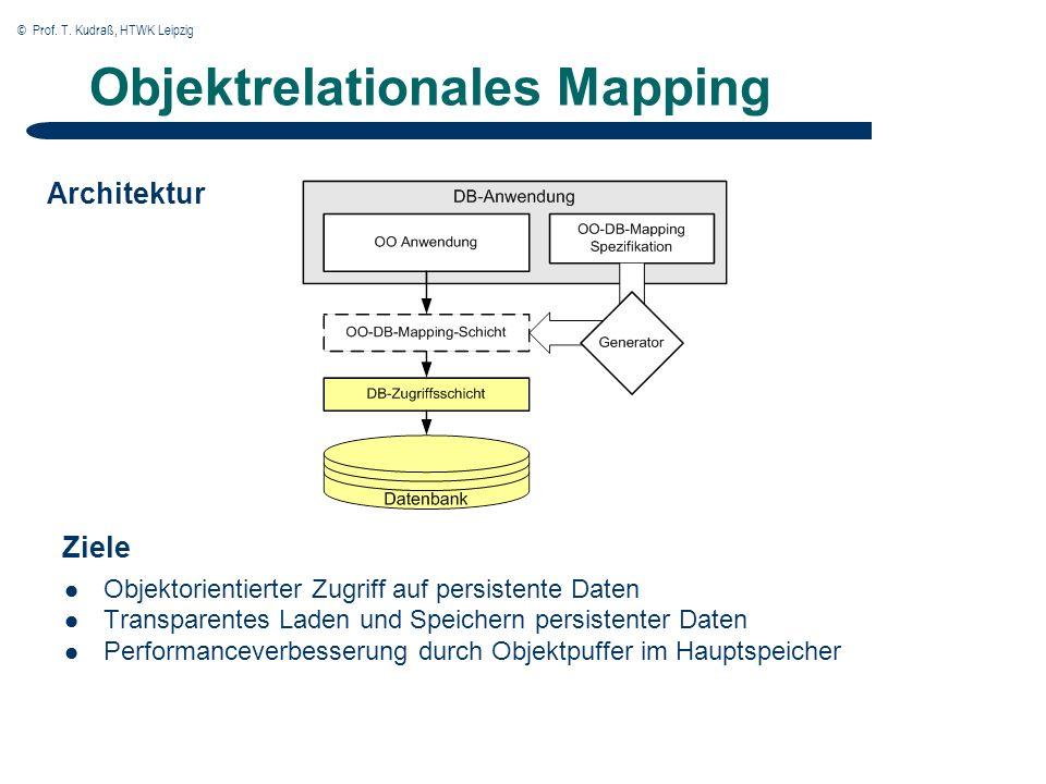 © Prof. T. Kudraß, HTWK Leipzig Objektrelationales Mapping Objektorientierter Zugriff auf persistente Daten Transparentes Laden und Speichern persiste