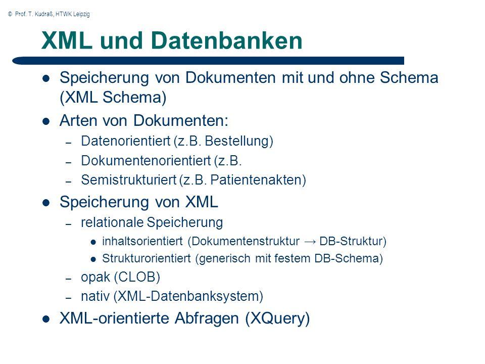 © Prof. T. Kudraß, HTWK Leipzig XML und Datenbanken Speicherung von Dokumenten mit und ohne Schema (XML Schema) Arten von Dokumenten: – Datenorientier