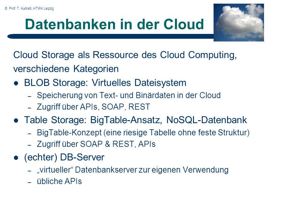 © Prof. T. Kudraß, HTWK Leipzig Datenbanken in der Cloud Cloud Storage als Ressource des Cloud Computing, verschiedene Kategorien BLOB Storage: Virtue