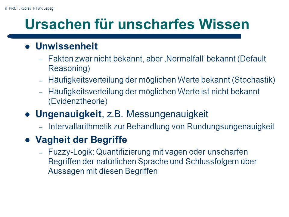 © Prof. T. Kudraß, HTWK Leipzig Ursachen für unscharfes Wissen Unwissenheit – Fakten zwar nicht bekannt, aber Normalfall bekannt (Default Reasoning) –