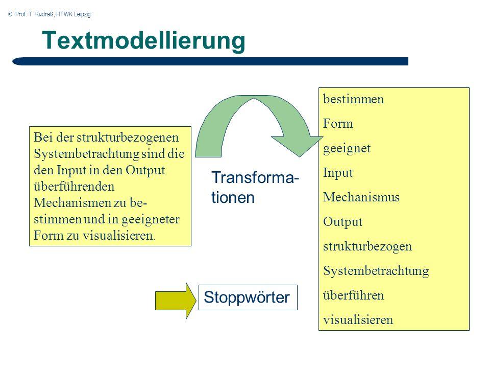 © Prof. T. Kudraß, HTWK Leipzig Textmodellierung Bei der strukturbezogenen Systembetrachtung sind die den Input in den Output überführenden Mechanisme
