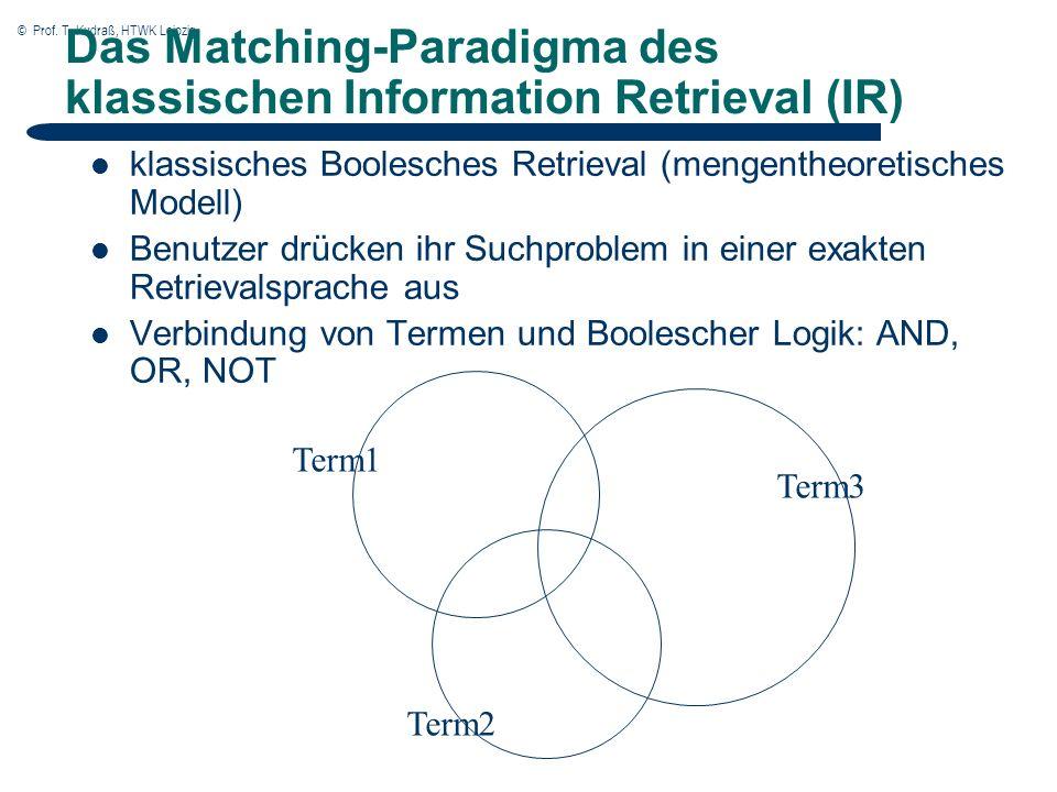 © Prof. T. Kudraß, HTWK Leipzig Das Matching-Paradigma des klassischen Information Retrieval (IR) klassisches Boolesches Retrieval (mengentheoretische