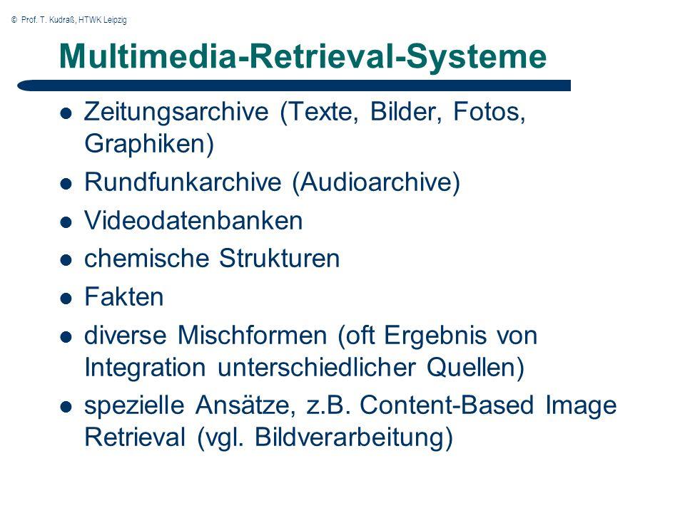 © Prof. T. Kudraß, HTWK Leipzig Multimedia-Retrieval-Systeme Zeitungsarchive (Texte, Bilder, Fotos, Graphiken) Rundfunkarchive (Audioarchive) Videodat
