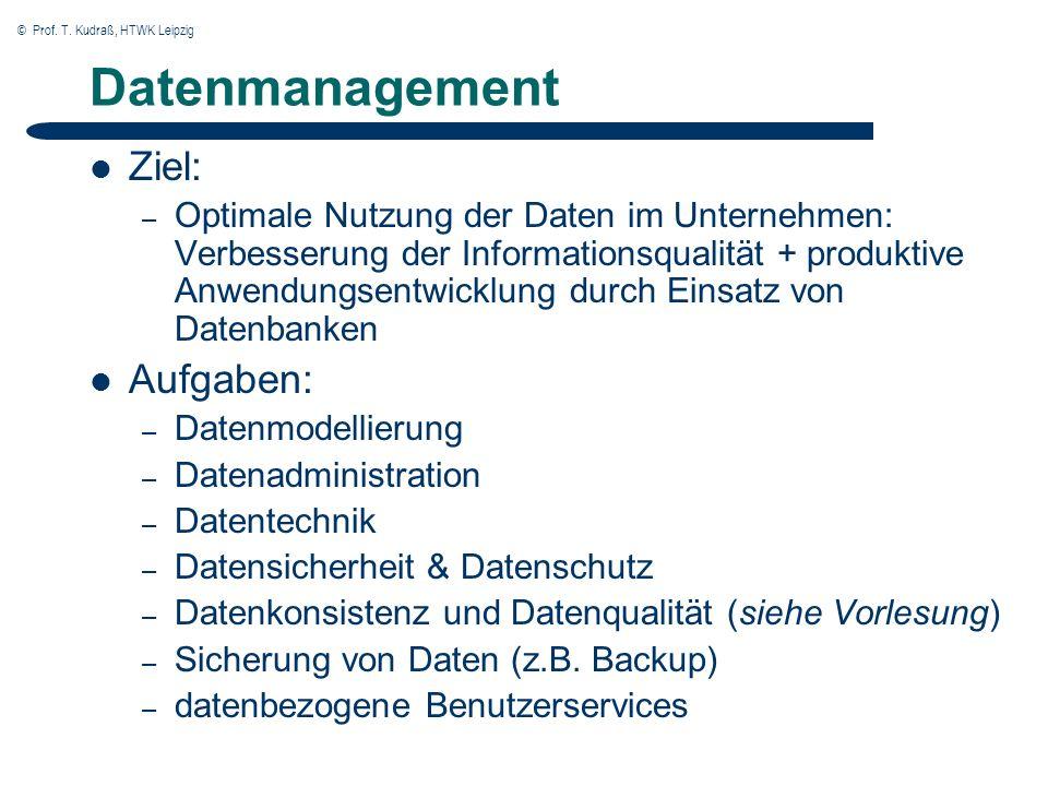 © Prof. T. Kudraß, HTWK Leipzig Datenmanagement Ziel: – Optimale Nutzung der Daten im Unternehmen: Verbesserung der Informationsqualität + produktive