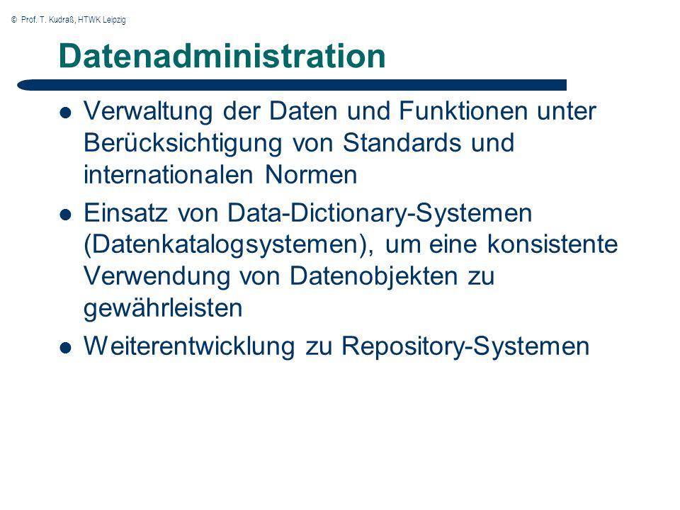 © Prof. T. Kudraß, HTWK Leipzig Datenadministration Verwaltung der Daten und Funktionen unter Berücksichtigung von Standards und internationalen Norme