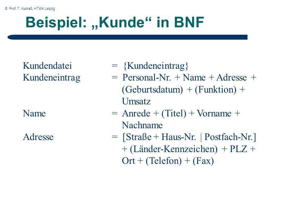 © Prof. T. Kudraß, HTWK Leipzig Beispiel: Kunde in BNF Kundendatei= {Kundeneintrag} Kundeneintrag= Personal-Nr. + Name + Adresse + (Geburtsdatum) + (F