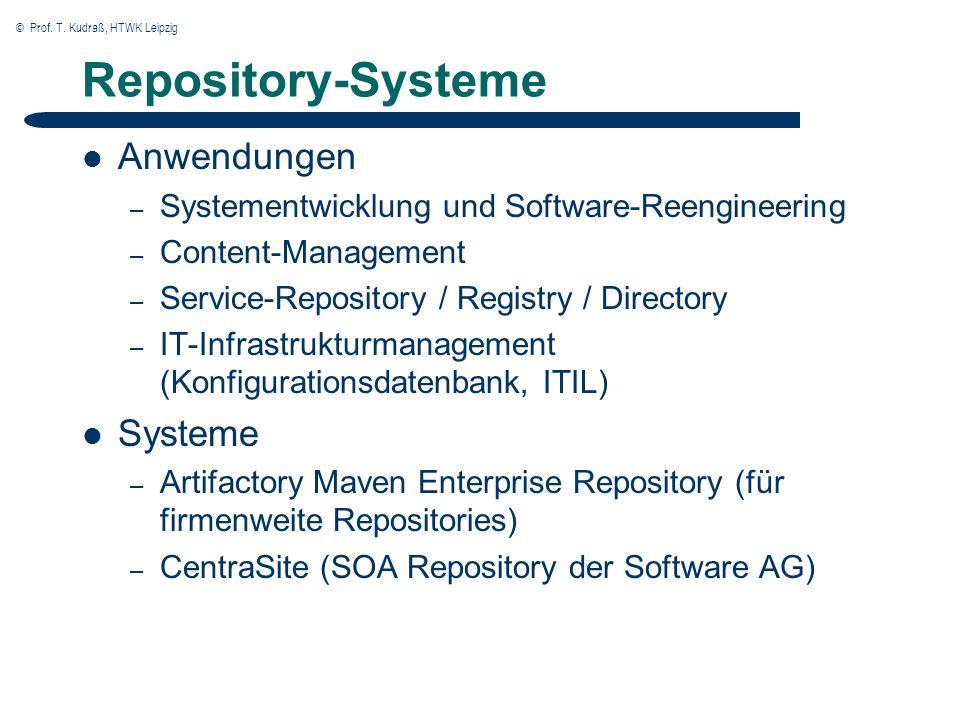 © Prof. T. Kudraß, HTWK Leipzig Repository-Systeme Anwendungen – Systementwicklung und Software-Reengineering – Content-Management – Service-Repositor