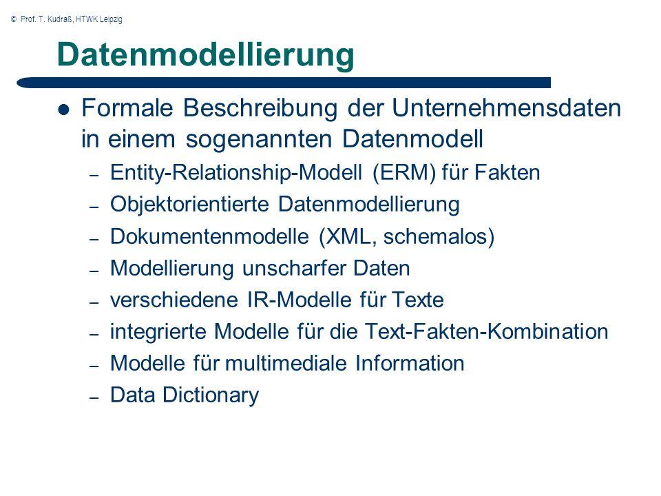 © Prof. T. Kudraß, HTWK Leipzig Datenmodellierung Formale Beschreibung der Unternehmensdaten in einem sogenannten Datenmodell – Entity-Relationship-Mo