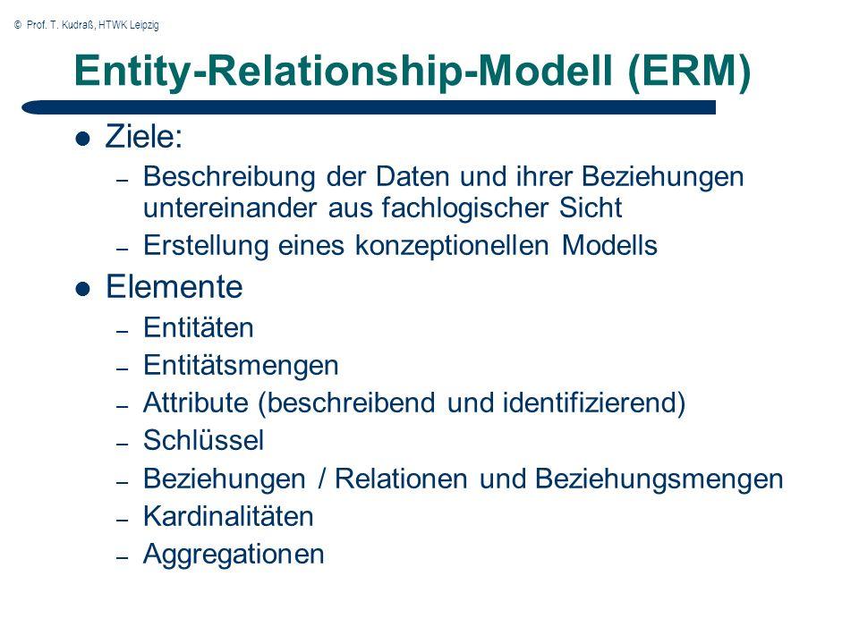 © Prof. T. Kudraß, HTWK Leipzig Entity-Relationship-Modell (ERM) Ziele: – Beschreibung der Daten und ihrer Beziehungen untereinander aus fachlogischer