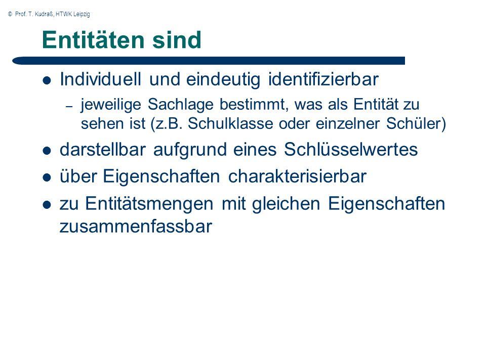 © Prof. T. Kudraß, HTWK Leipzig Entitäten sind Individuell und eindeutig identifizierbar – jeweilige Sachlage bestimmt, was als Entität zu sehen ist (