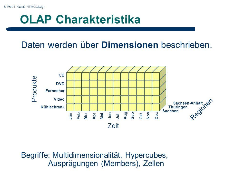 © Prof. T. Kudraß, HTWK Leipzig OLAP Charakteristika Daten werden über Dimensionen beschrieben.