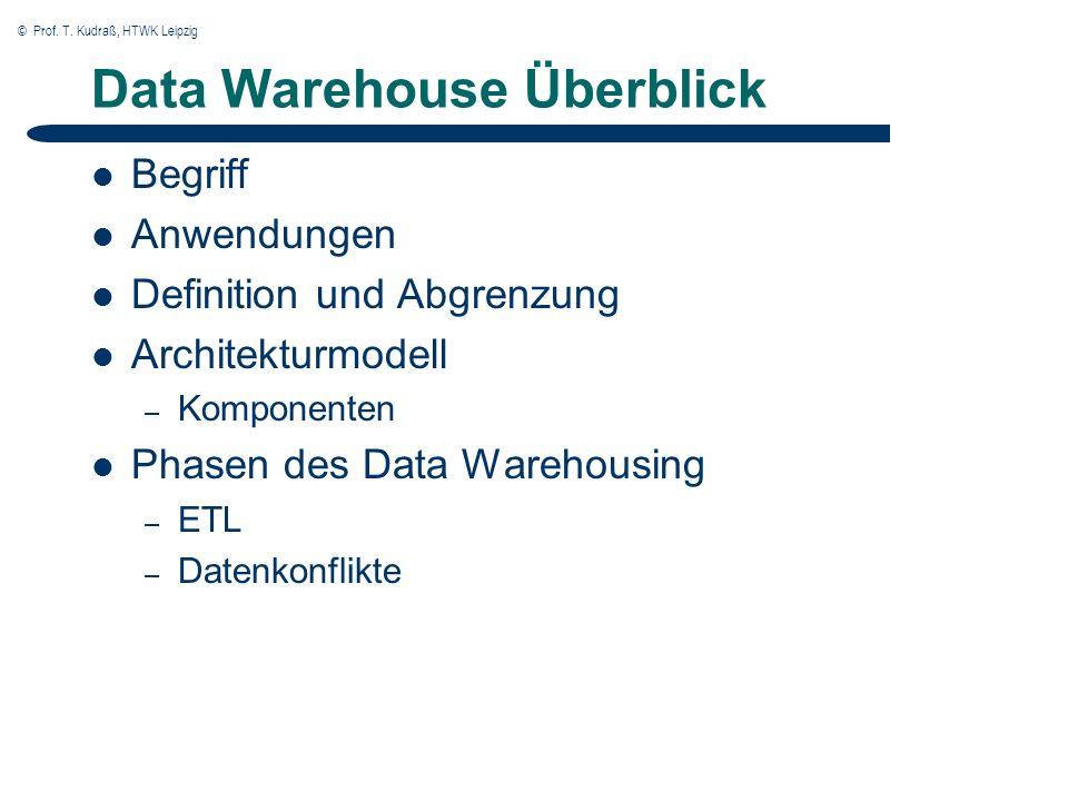 © Prof.T. Kudraß, HTWK Leipzig OLAP Charakteristika Daten werden über Dimensionen beschrieben.