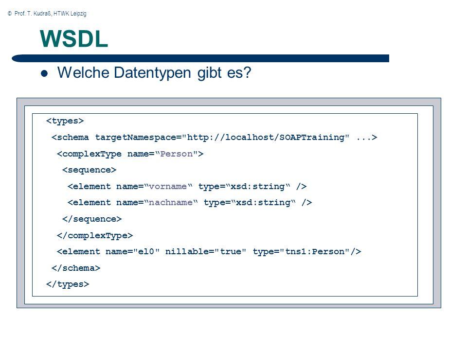 © Prof. T. Kudraß, HTWK Leipzig 21 WSDL Welche Datentypen gibt es?