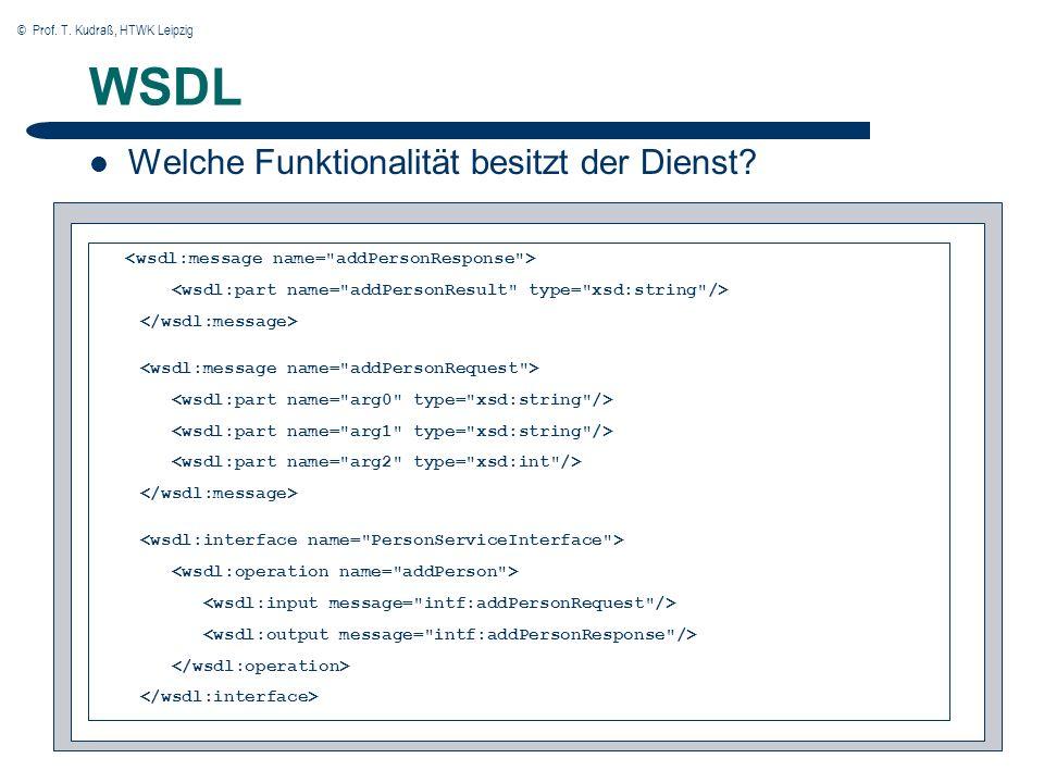 © Prof. T. Kudraß, HTWK Leipzig 22 WSDL Welche Funktionalität besitzt der Dienst?