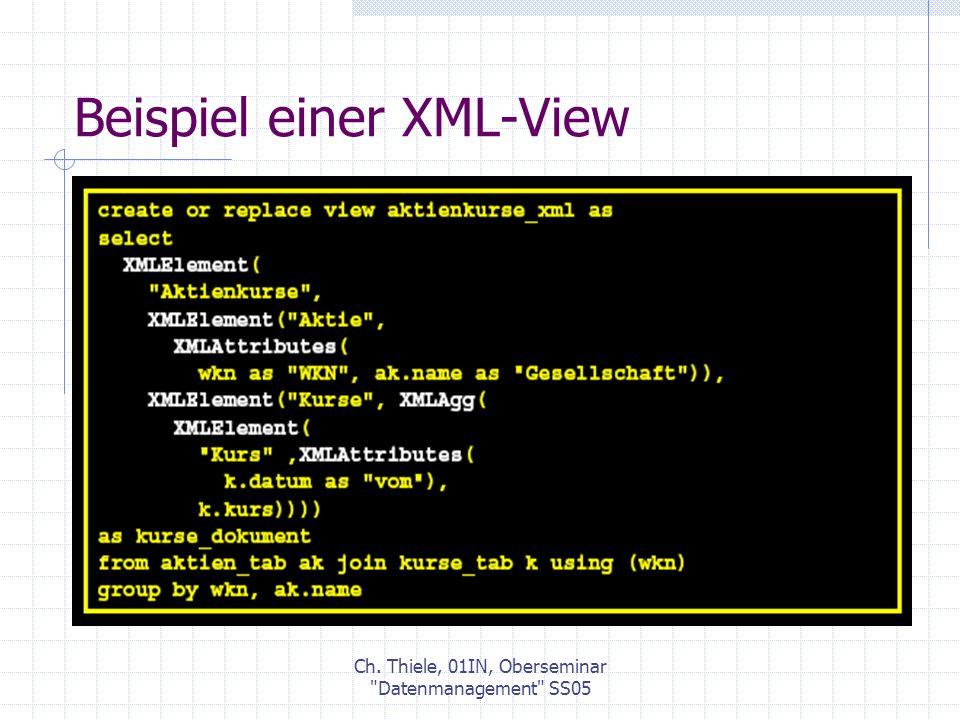 Ch. Thiele, 01IN, Oberseminar Datenmanagement SS05 Beispiel einer XML-View
