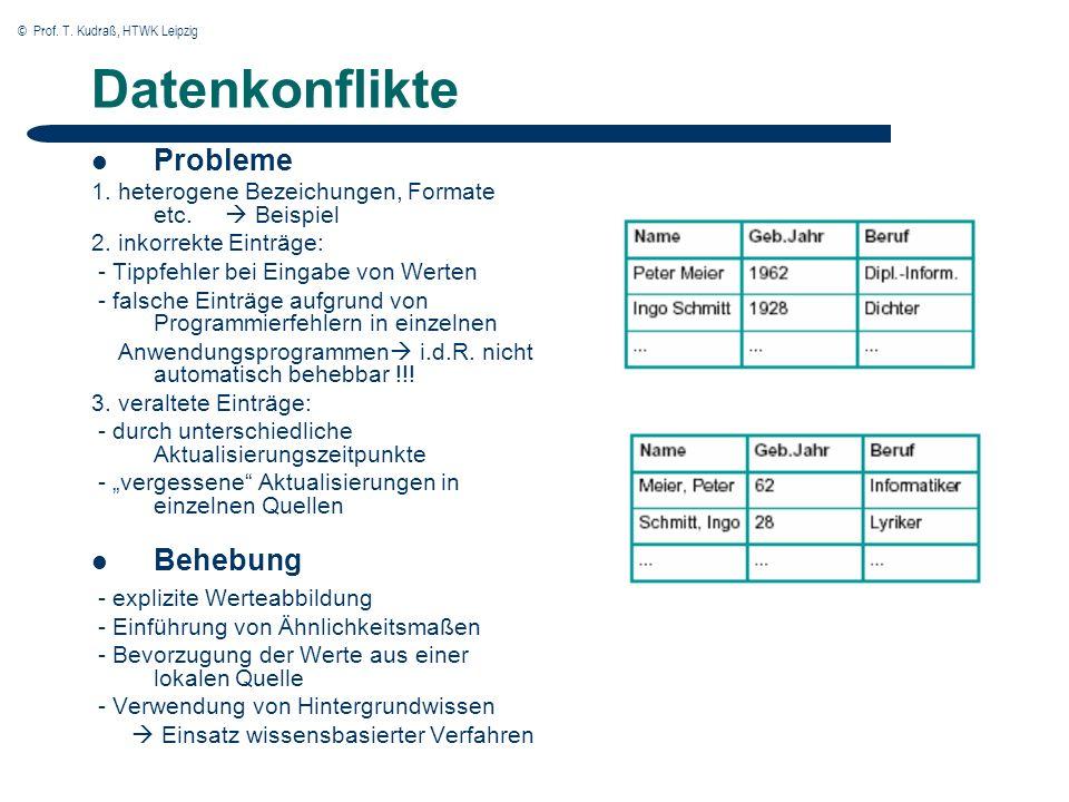 © Prof. T. Kudraß, HTWK Leipzig Datenkonflikte Probleme 1.
