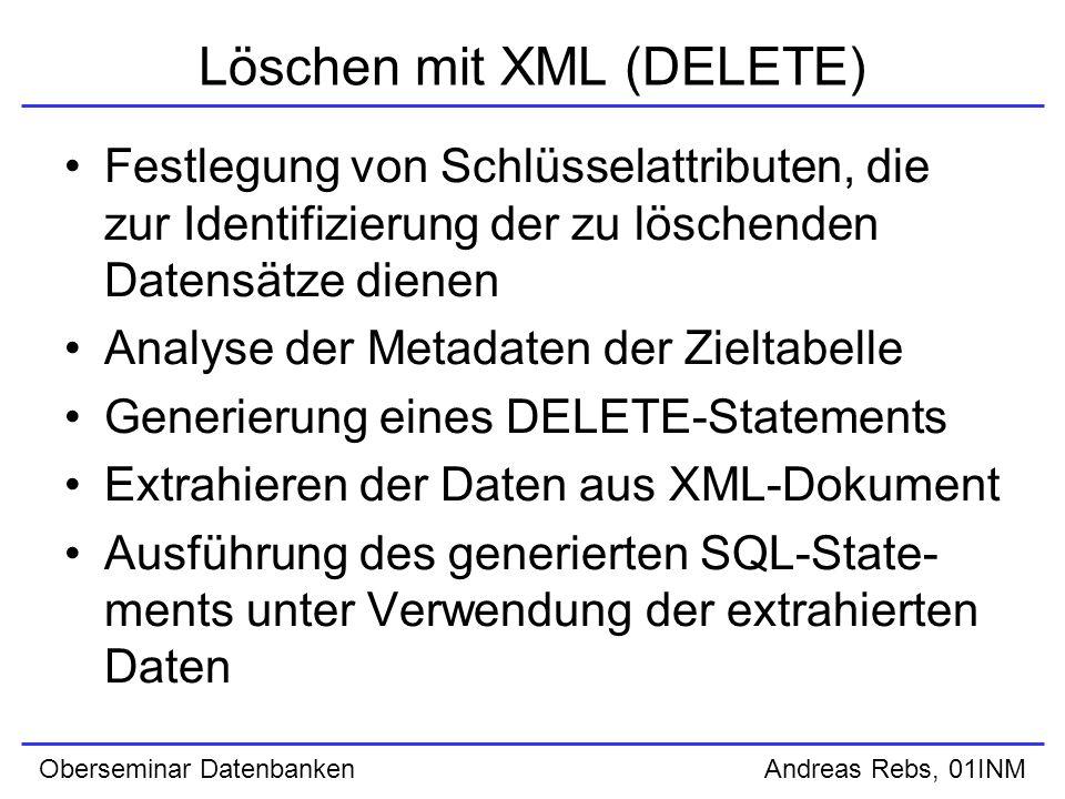 Oberseminar Datenbanken Andreas Rebs, 01INM Löschen mit XML (DELETE) Festlegung von Schlüsselattributen, die zur Identifizierung der zu löschenden Datensätze dienen Analyse der Metadaten der Zieltabelle Generierung eines DELETE-Statements Extrahieren der Daten aus XML-Dokument Ausführung des generierten SQL-State- ments unter Verwendung der extrahierten Daten